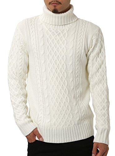 JIGGYS SHOP (ジギーズショップ) ニット セーター メンズ タートルネック ケーブル編み 厚手 長袖 防寒 ボーダー アメカジ XL C ホワイト