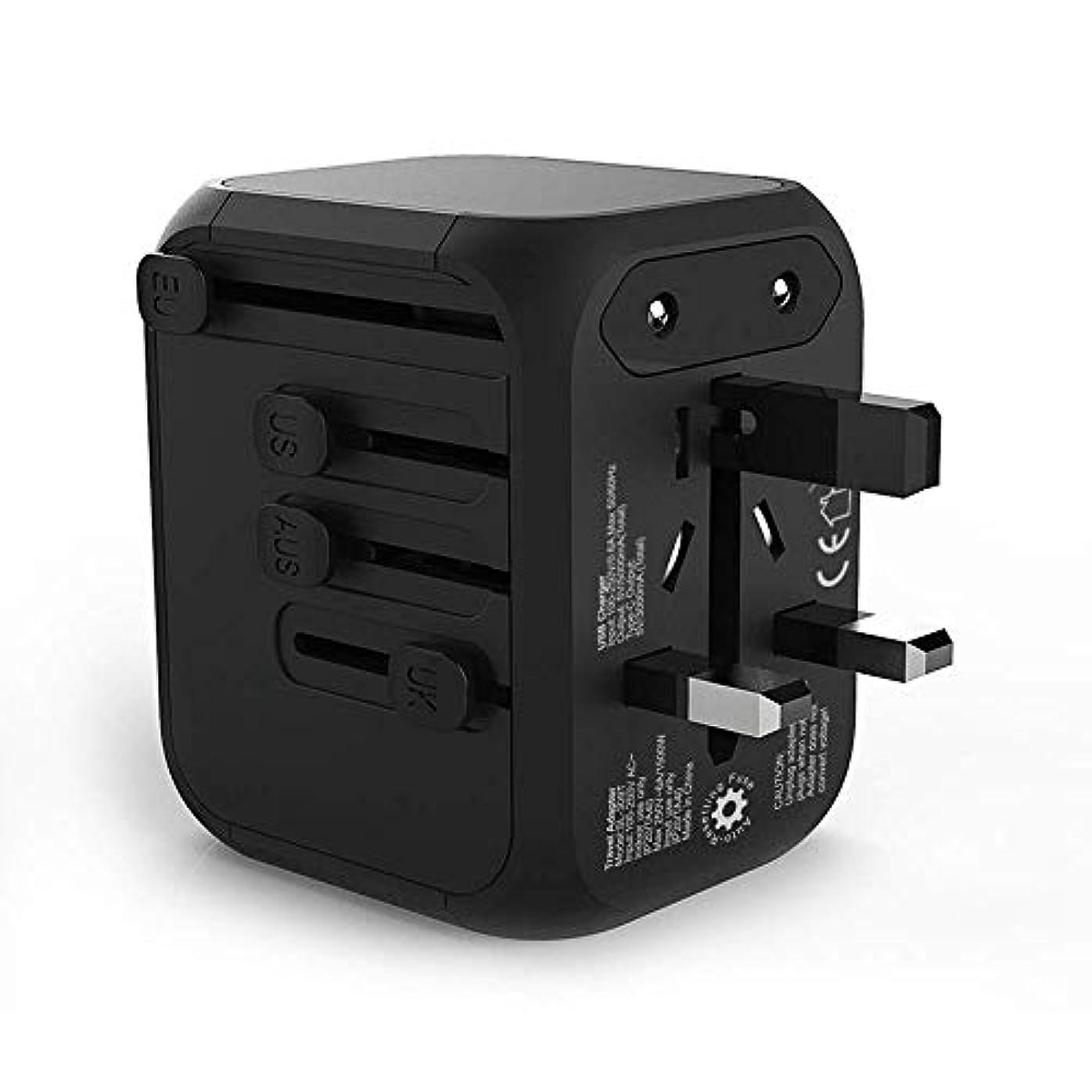 不安定フライト長老USB充電器プラグ、各国用ソケット穴、ウォールチャージャー、5.0A、1Type-c、3ポートUSBプラグ充電器、iOS、iPad、タブレット、パワーバンク、ホーム、オフィス、ブラック用