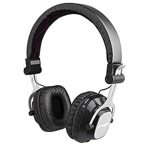 Esonstyle ステレオ bluetooth ヘッドセット 高音質 ヘッドホン ワイヤレス 装着感 ネックバンド式 折り畳み可能 遮音性 マイク搭載/sdカード/ 3.5mmオーディオ/Androidシステムに対応 (黒い)