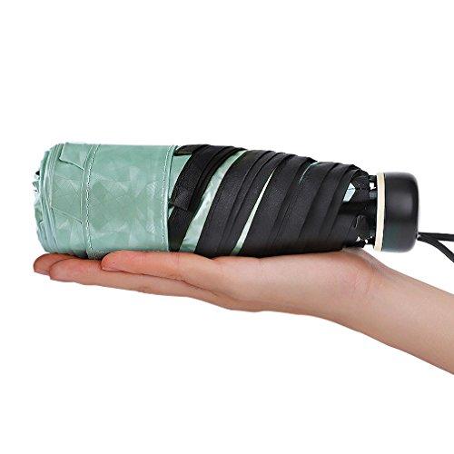日傘 晴雨兼用 完全遮光 超軽量 折り畳み傘 小型 薄型 折りたたみ日傘 紫外線傘 UVカット 遮熱 (グリーン)