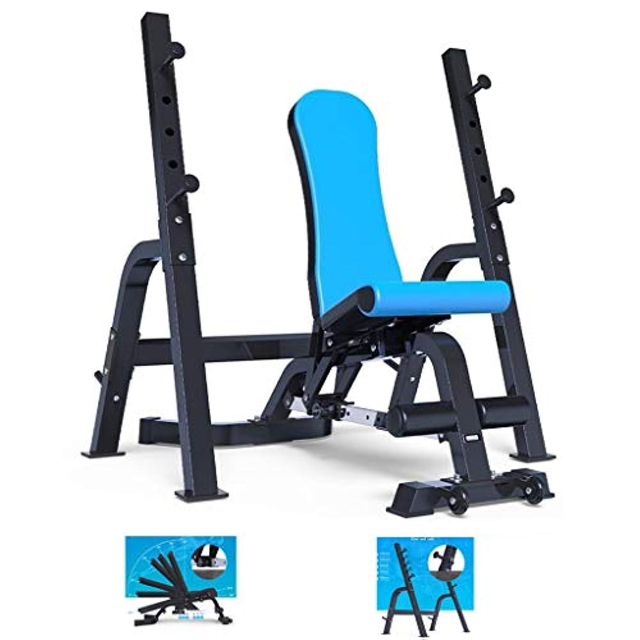 気体の接続された調停者トレーニングベンチ 多機能スクワットは重量挙げベッド/バーベルベッド フィットネス機器ベンチプレスラック ホームダンベルベンチフィットネスチェア スクワット ベンチプレス 安全な体重負荷ラック (Color : Blue)