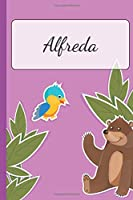 Alfreda: Personalized Name Notebook for Girls | Custemized with 110 Dot Grid Pages | A custom Journal as a Gift for your Daughter or Wife | Perfect as School Supplies or as a Christmas or Birthday Present | Cute Girl Diary