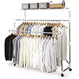 Heavy Load Large Adjustable Foldable Rolling Clothes Laundry Drying Clothing Rack Stainless Steel Rod with Wheels