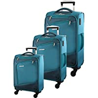 Pierre Cardin - 2810 Set of 3 Softside Suitcases 54cm/66cm/76cm - Turquoise