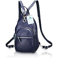 Woolala Women Backpack Litchi Stria Purse Leather Ladies Rucksack Anti-Theft Crossbody Shoulder Bag