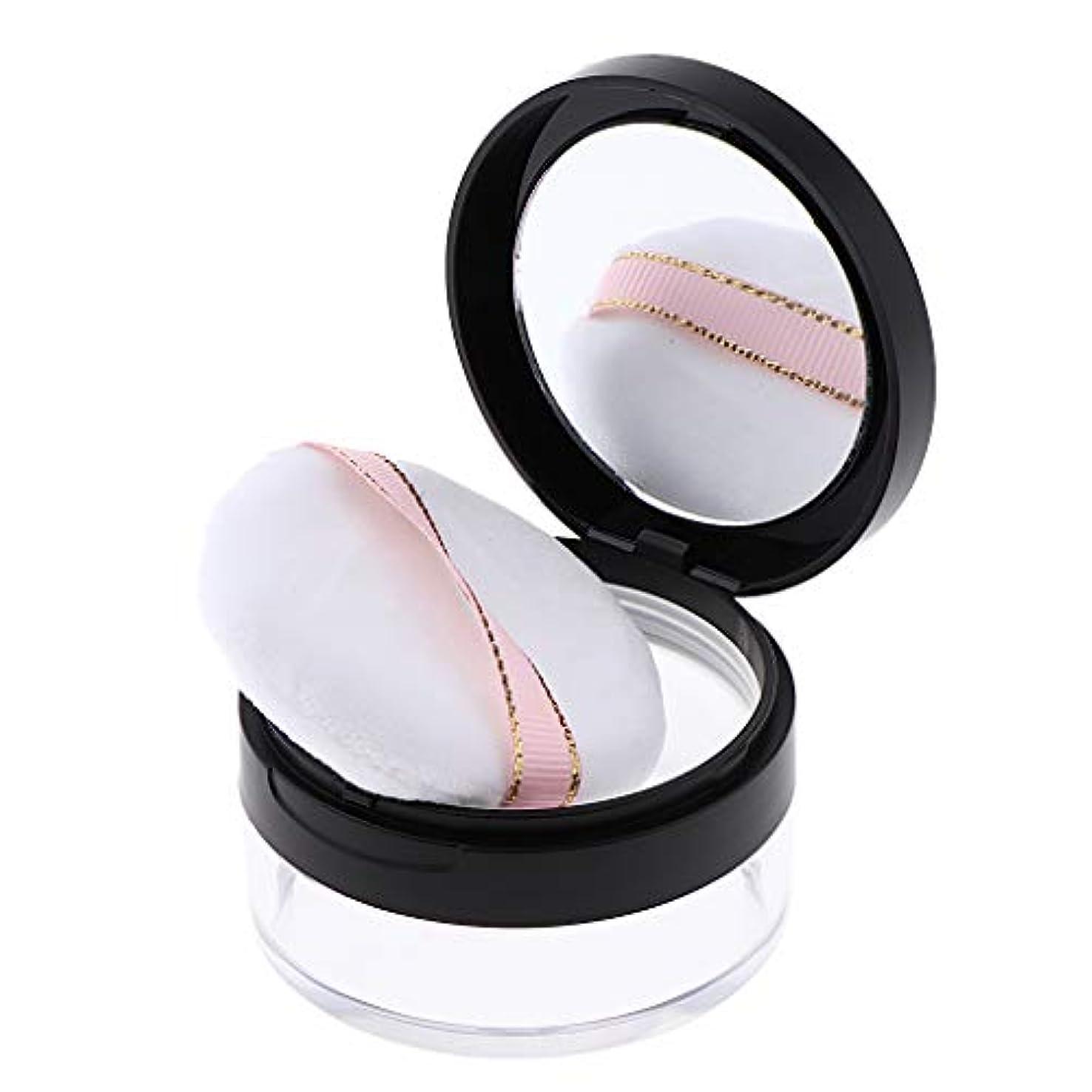 叫ぶ滞在忌み嫌うルースパウダーケース メイクアップ ミラー 化粧鏡 化粧パフ DIY コスメ 2色選べ - ブラック