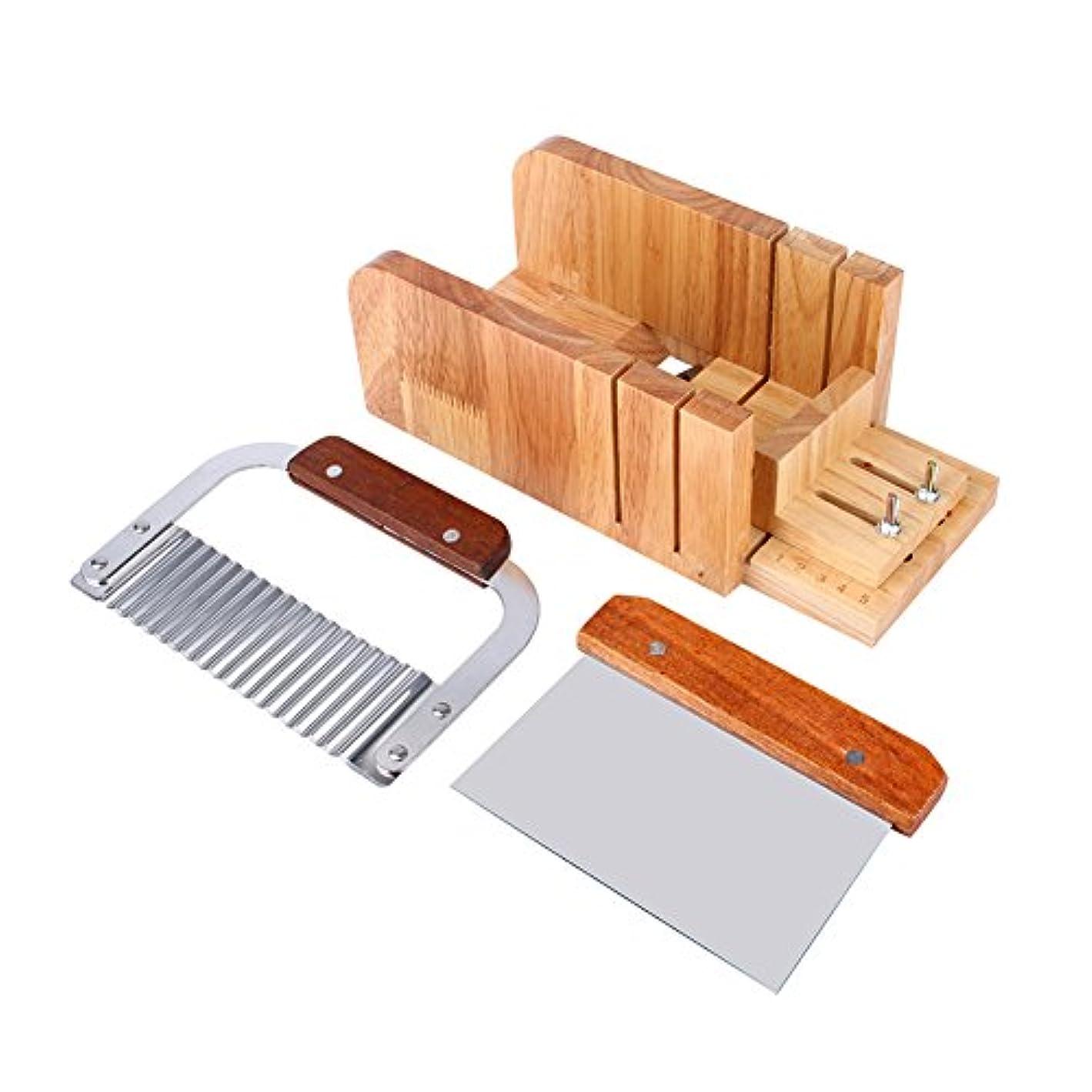 テクニカル望ましい渦3点セット ソープカッター 石けん金型ソープロープ カッター 木製 カッター ツールDIY 手作り 木製ボックス松木製 ストレートソープ包丁 ナイフ モールドソープ調整可能レトロ