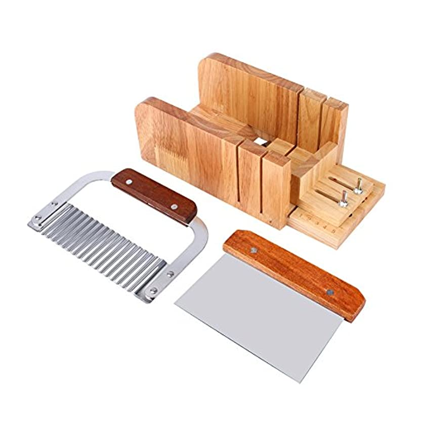毎回絶対の意志3点セット ソープカッター 石けん金型ソープロープ カッター 木製 カッター ツールDIY 手作り 木製ボックス松木製 ストレートソープ包丁 ナイフ モールドソープ調整可能レトロ