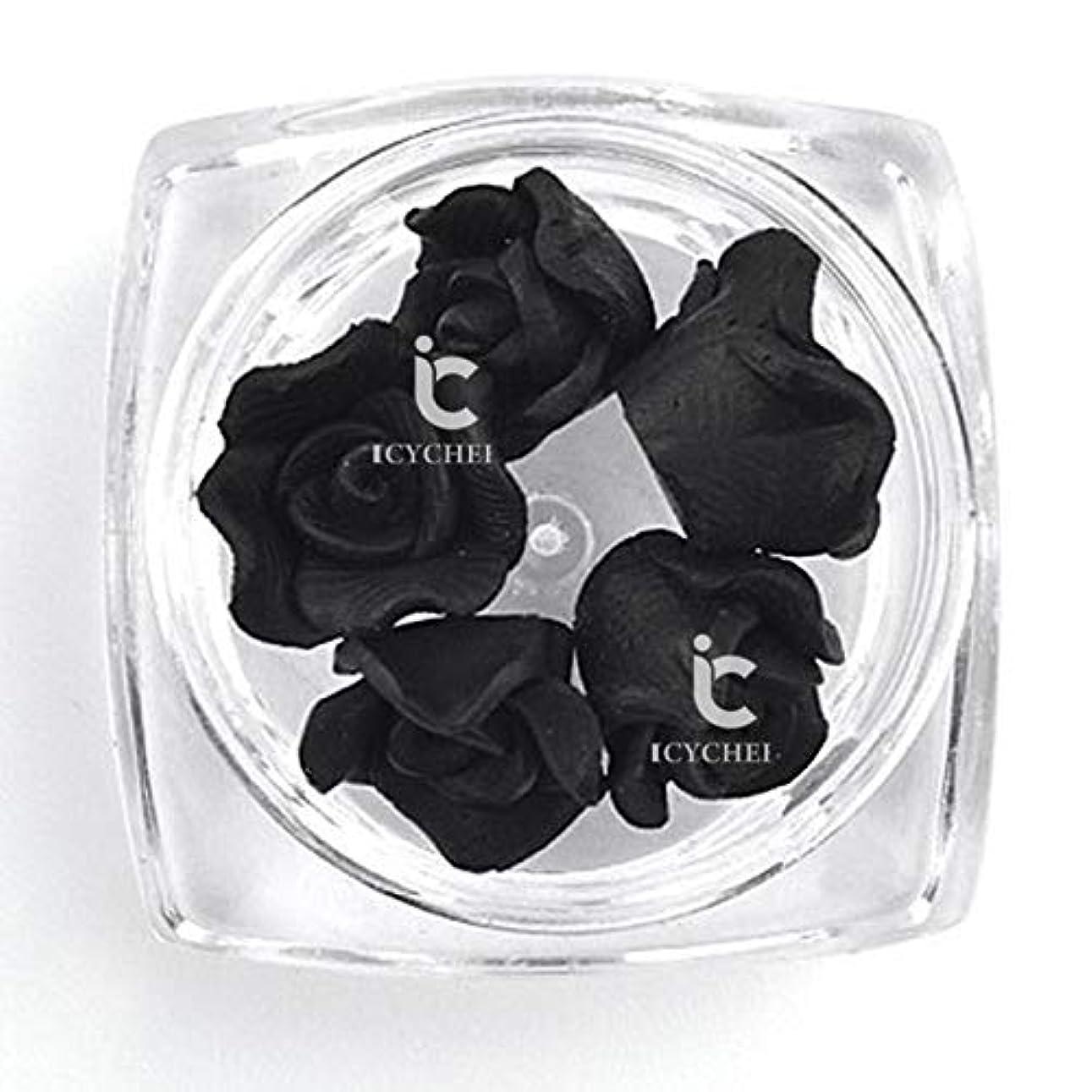 日食さようなら集団的ICYCHEER 3D ネイルアートアクリルローズフラワー Diy の装飾スライス Uv ジェルネイルアートのヒント Diy のネイルアート accessoires (Black)