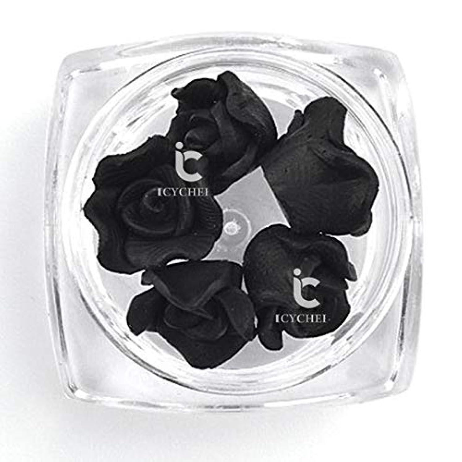 正気動機付ける期間ICYCHEER 3D ネイルアートアクリルローズフラワー Diy の装飾スライス Uv ジェルネイルアートのヒント Diy のネイルアート accessoires (Black)