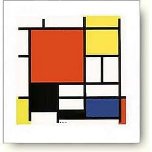 ピエト モンドリアン 赤 黄 青 黒のコンポジション アートポスター