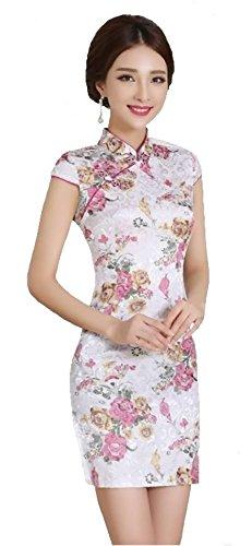 清楚な チャイナドレス ワンピース 日本人向き かわいい ショートスタイル 中国服 (M, 美人花)