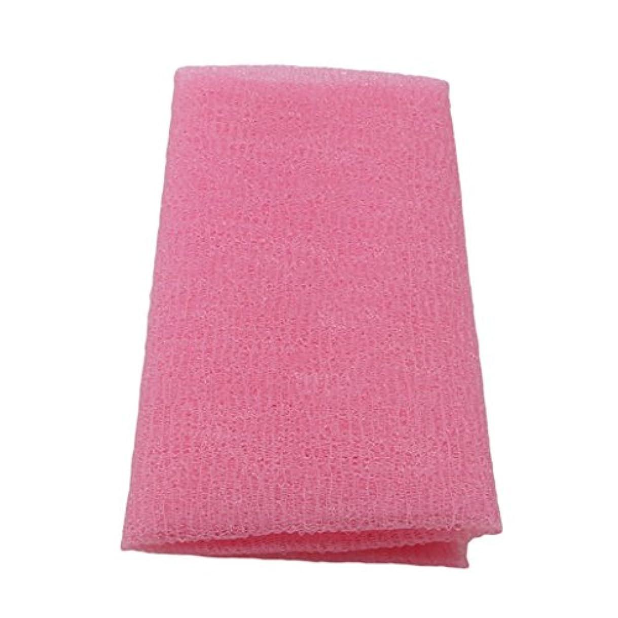 卑しいシュリンクパースMARUIKAO ボディタオル 泡しゃり ナイロン ロング 固め ピンク