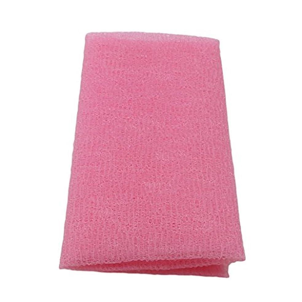 ごめんなさい市の花識字MARUIKAO ボディタオル 泡しゃり ナイロン ロング 固め ピンク