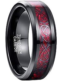 Vakki メンズ リング タングステン 炭素繊維 カーボンファイバー ドラゴン 竜紋 指輪 耐久性に優れた 高級 平打ち 幅 8mm カラー:レッド 19号