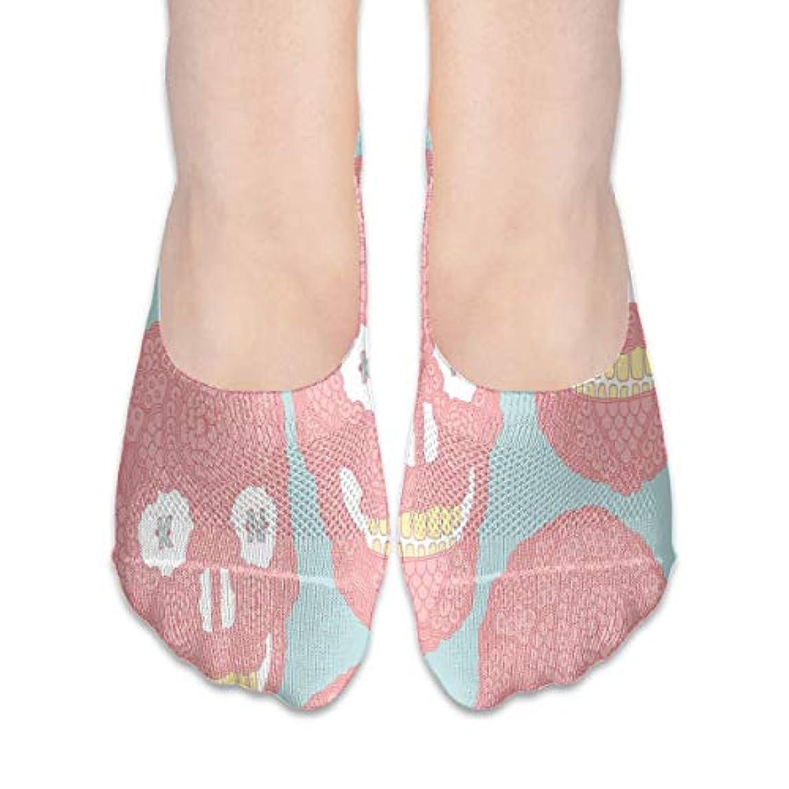 に賛成惑星人形女性のピンクの面白い頭蓋骨ローカットコットンボート隠し目に見えない靴下