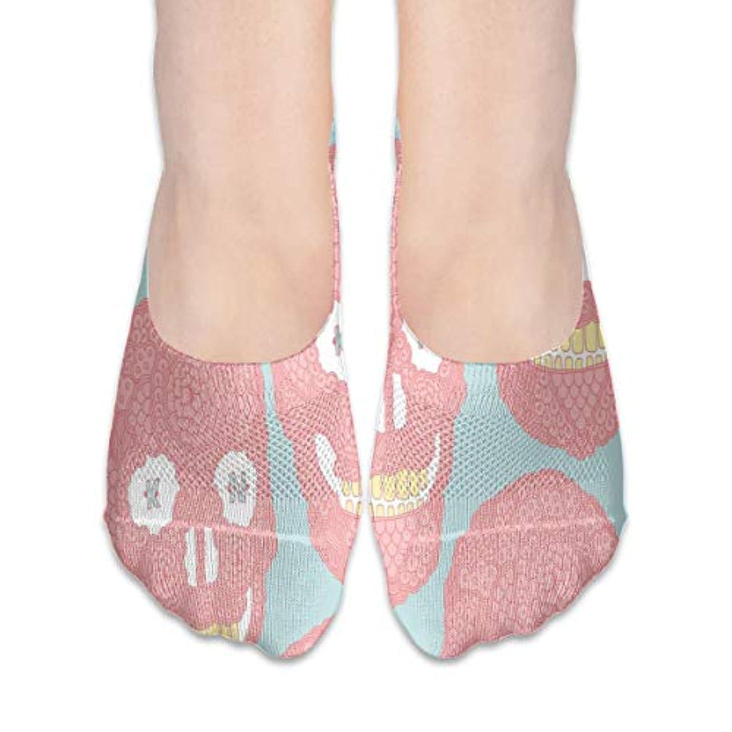 天井フィードぴかぴか女性のピンクの面白い頭蓋骨ローカットコットンボート隠し目に見えない靴下