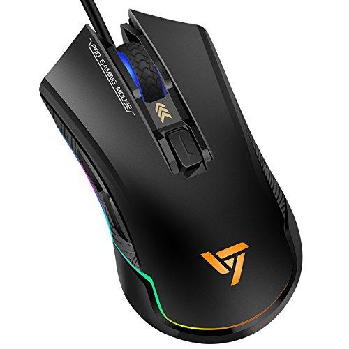 PCマウス Qtuo ゲーミングマウス 有線マウス RGBマウス 6段階DPIが調整可能 1680万色RGBライト 20G加速 自由にプログラムが可能 12ヶ月保証期間が付き ブラック