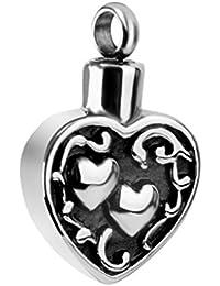 【ノーブランド 品】ステンレス 心臓 火葬 記念品 記念灰 骨壷 ペンダント 宝石 ネックレス