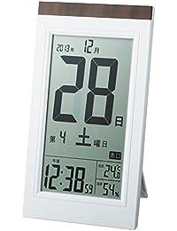ADESSO(アデッソ) 電波目覚まし時計 日めくり電波時計 デジタル表示 置き掛け兼用 ホワイト KW9254