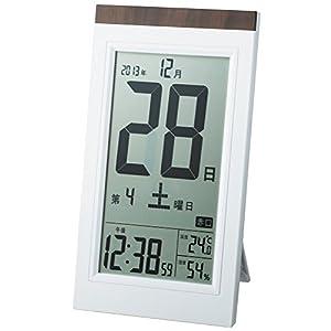 ADESSO(アデッソ) 目覚まし時計 日めくり 電波時計 六曜 温度 湿度 日付表示 記念日設定機能付き 置き掛け兼用 ホワイト KW9254