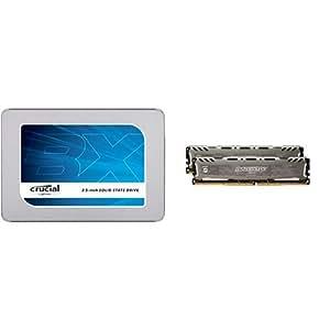 Crucial [Micron製] 内蔵SSD 2.5インチ BX300 480GB ( 3D MLC NAND /SATA 6Gbps /3年保証 )国内正規品 CT480BX300SSD1/JP+CFD販売 デスクトップPC用メモリ PC4-21300(DDR4-2666) 8GB×2枚 288pin (無期限保証)(Crucial by Micron) W4U2666BMS-8G