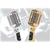 【K-JOY】 ダイナミック ガイコツマイク ボーカルマイク / バンド コスプレ 撮影用に レトロ クラシックタイプ マイク 通販 F228-13 シルバー