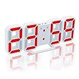 EAAGD 多機能 電子 3D 8888 LEDデジタル目覚まし時計 掛け時計、12H / 24H時間表示 自動調節可能のLED明るさ 家の装飾卓上時計 (ホワイト本体+レッドライト)