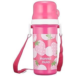 ハンナフラ(Hanna Hula) キッズ コップ付直のみプラボトル いちご ランチシリーズ 水筒 プッシュ式開閉 日本製 食洗機OK お名前シール付き 子供用かわいいお弁当グッズ