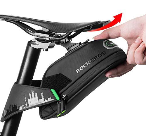 ROCKBROS(ロックブロス)自転車 サドルバッグ ロードバイクサドルバック 大容量 防水 フレームバッグ クロスバイク テールライト