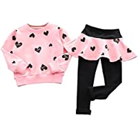 DaySeventh Girls' Love Heart Long Sleeve Shirt Sweater+Pants Skirt Sports Suit