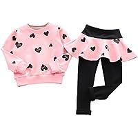 DaySeventh Girls' Love Heart Long Sleeve Shirt Sweater+Pants Skirt Sports Suit