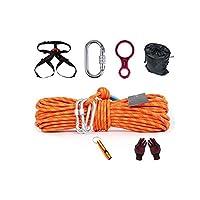 クライミングロープ、屋外の静電気クライミングロープ、直径10m20m 8mm火災安全救助登山バックルロープ、青 (Color : Blue, Size : 20m)