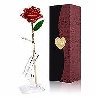 24KゴールドFoilトリムローズフラワーwithブラケットfor Valentine 's Day &母の日&記念日誕生日