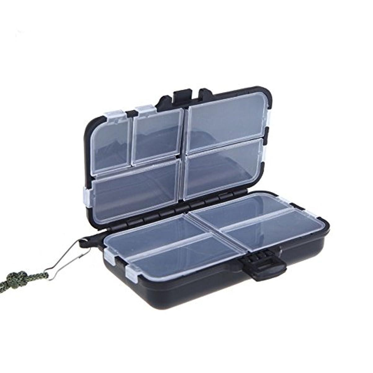 アカデミック教師の日うがいCUHAWUDBA 1個実用性のある黒色釣りタックルボックス釣り餌フックハードプラスチック8コンパートメントツールSスタイル