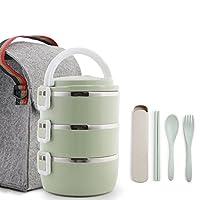 HCHWH ステンレススチール製の食事ボックスは、1-2時間、良い健康的な食事のボックス、3つの層、2100ミリリットルの温度を保持することができます (色 : 緑)