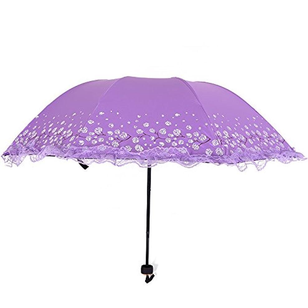 難しいハングお祝いAiqyi 三つ折り畳み傘 太陽の傘 手動開閉 抗風 晴雨兼用 梅の花の傘 レースエッジの傘 紫外線 UVカット 梅雨対策 軽量サン傘(パープル)
