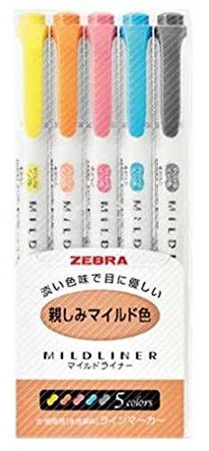 【海外限定】ZEBRA ゼブラ マイルドライナー 親しみマイルド 5色セット WKT7-N-5C