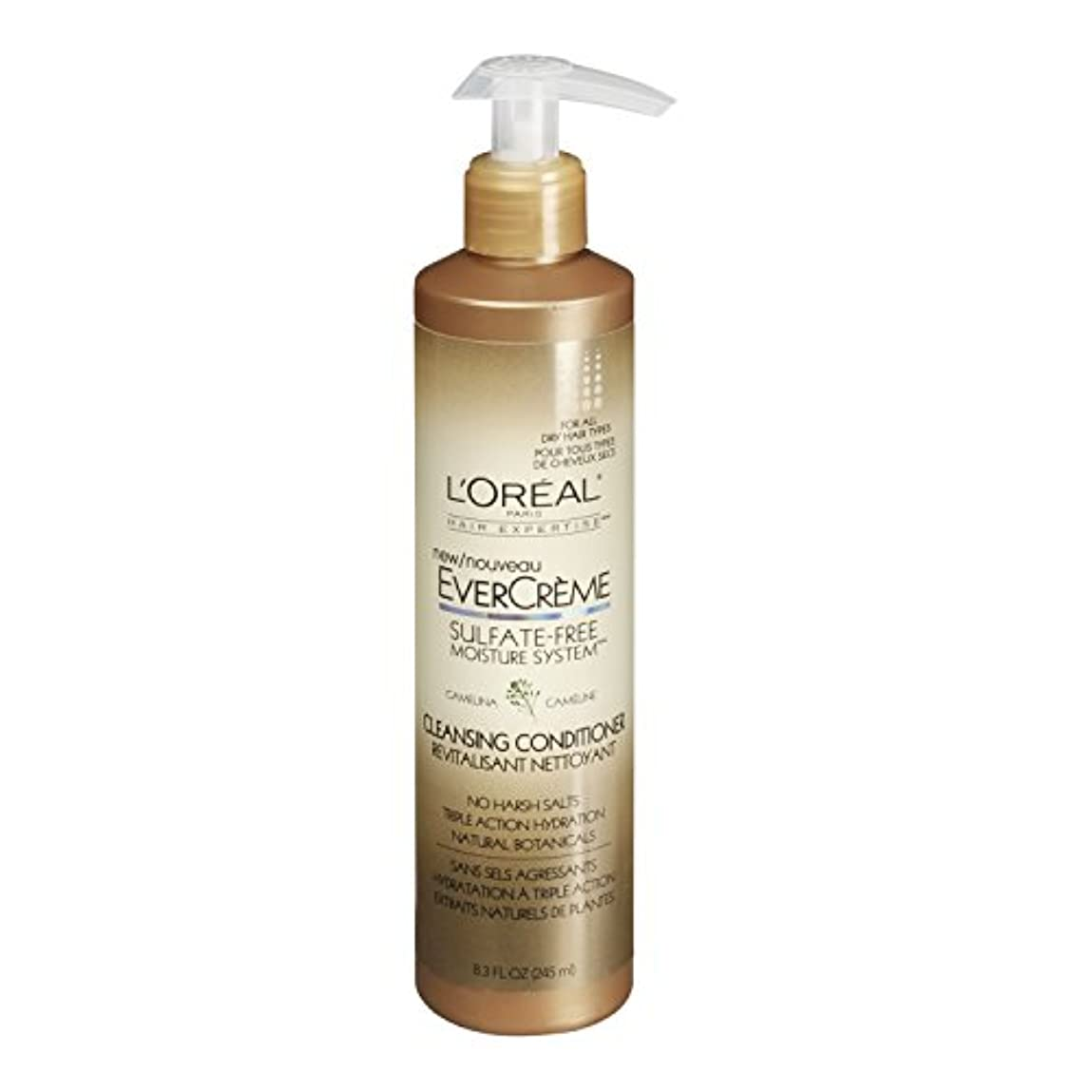 メッセンジャーサッカースープL'Oreal Paris EverCreme Sulfate-Free Moisture System Cleansing Conditioner, 8.3 fl. Oz. by L'Oreal Paris Hair Care [並行輸入品]