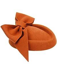 ベレーイギリスレトロなちょう結びのの帽子秋の冬の暖かい帽子のベレー女性のファッションエレガントなトップハット (色 : ダークブラウン)