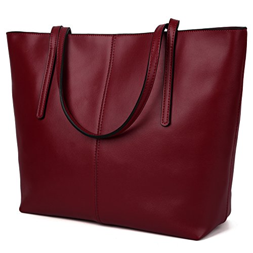 [ヤラックス]Yaluxe レディース 本革 2WAY 通勤バッグ ビジネス トートバッグ ハンドバッグ ワイン