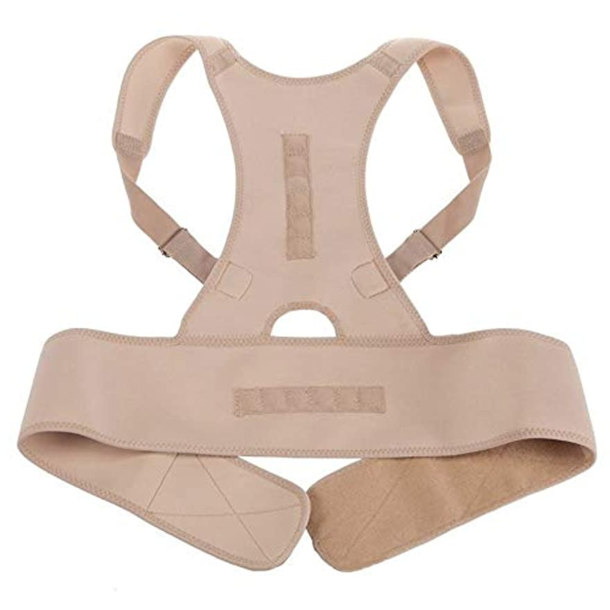 店員外部検出ネオプレン磁気姿勢補正機能バッドバックランバーショルダーサポート腰痛ブレースバンドベルトユニセックス快適な着用 - 肌の色L/XL
