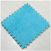 泡床マット、24枚セット、EVAフォーム連動タイルパズル運動マット、サイズ30 * 30 * 1.0cm、 (Color : ブルー)