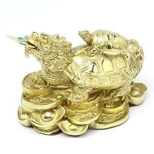 風水 龍亀・ろんぐい(真鍮製)・金運、財運の置物