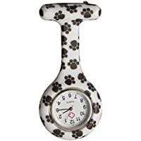 Black Dog's Footprint Silicone Medical Nurse Watch Clip on Lapel Watch Pocket Watch