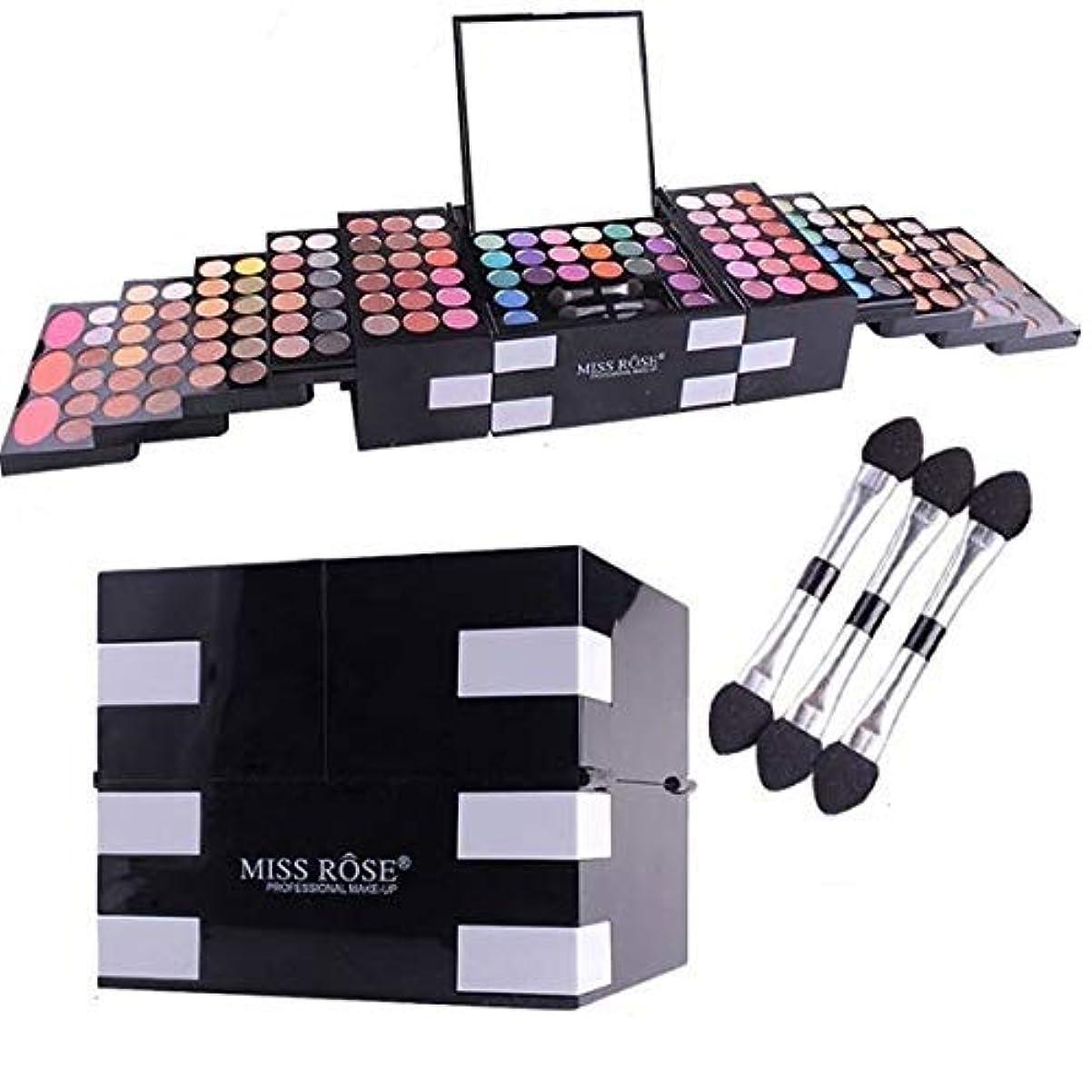 テーブルを設定するキャメル業界MISS ROSE 初心者の女の子 美容マットグリッター144色キラキラアイシャドウパレット化粧品アイシャドウ赤面眉パウダー化粧箱付きミラーブラシセット