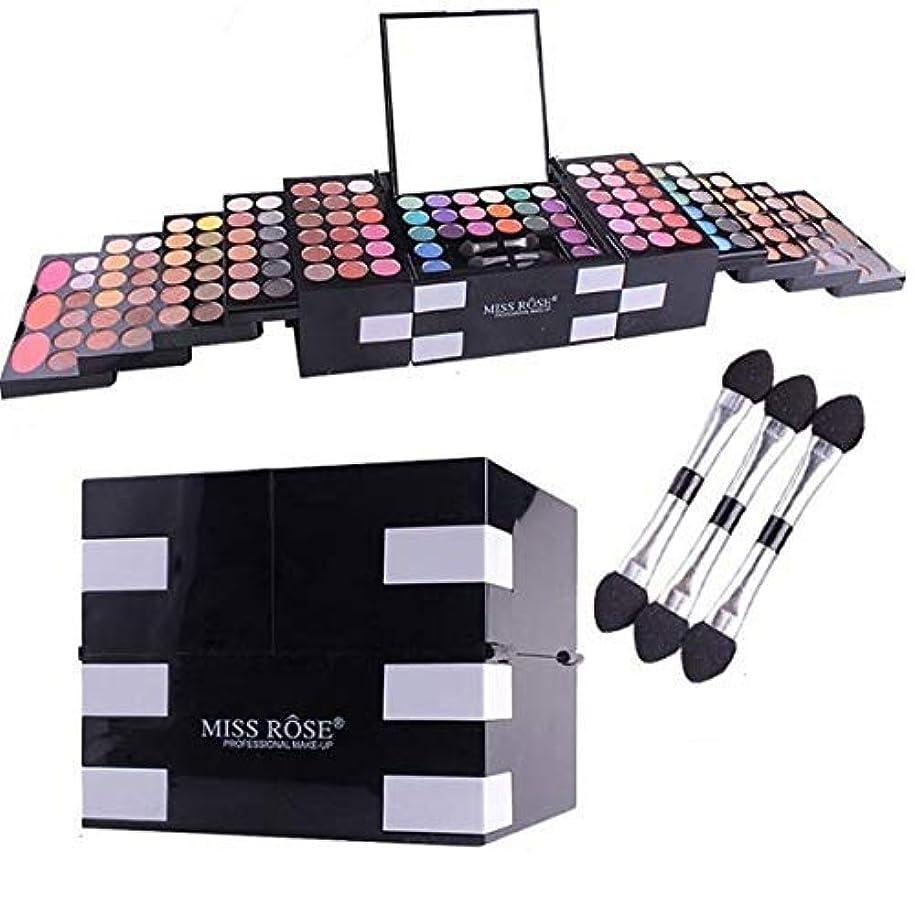 持参不安材料MISS ROSE 初心者の女の子 美容マットグリッター144色キラキラアイシャドウパレット化粧品アイシャドウ赤面眉パウダー化粧箱付きミラーブラシセット