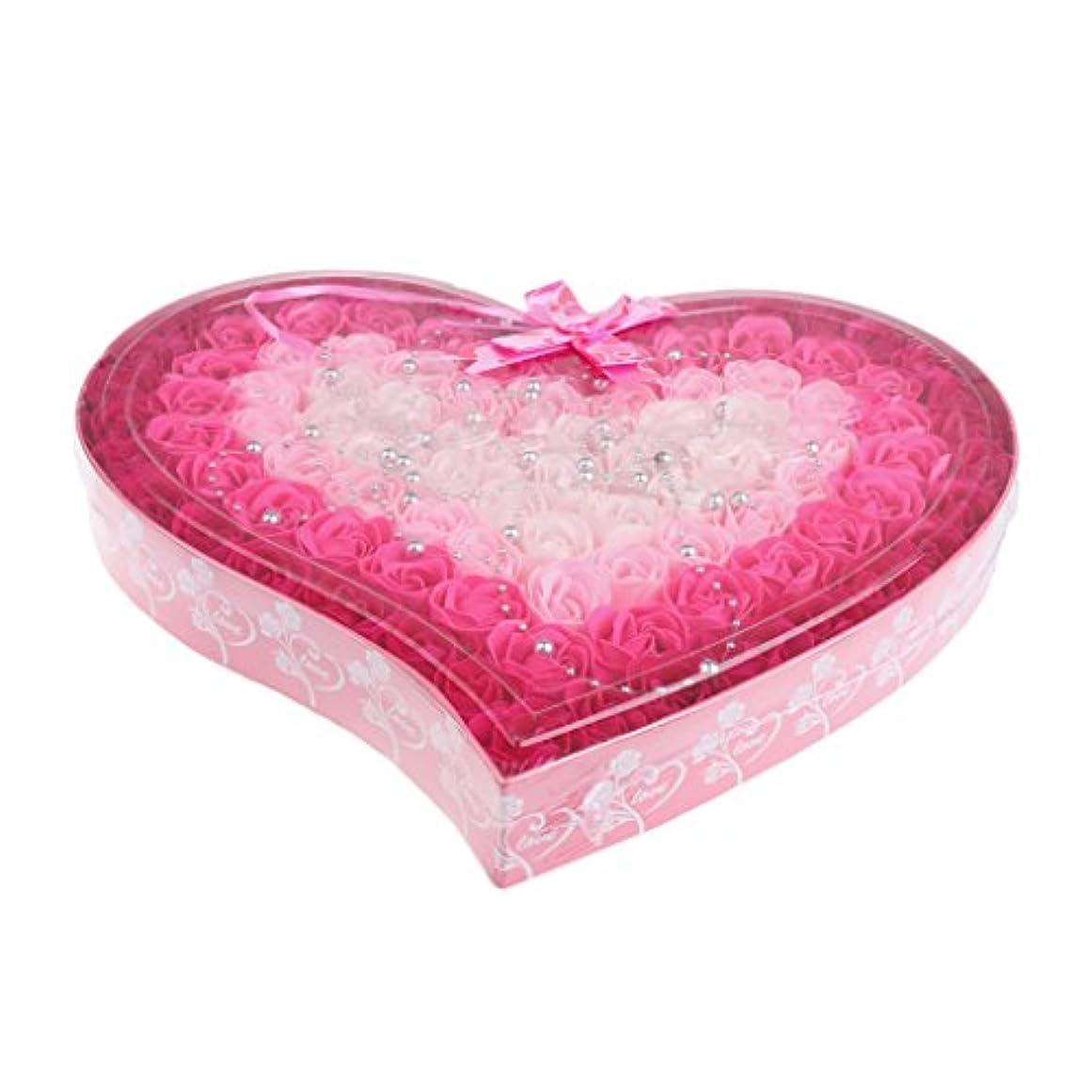 なめらか静脈迅速約100個 ソープフラワー 石鹸の花 母の日 心の形 ギフトボックス バレンタインデー ホワイトデー 母の日 結婚記念日 プレゼント 4色選択可 - ピンク