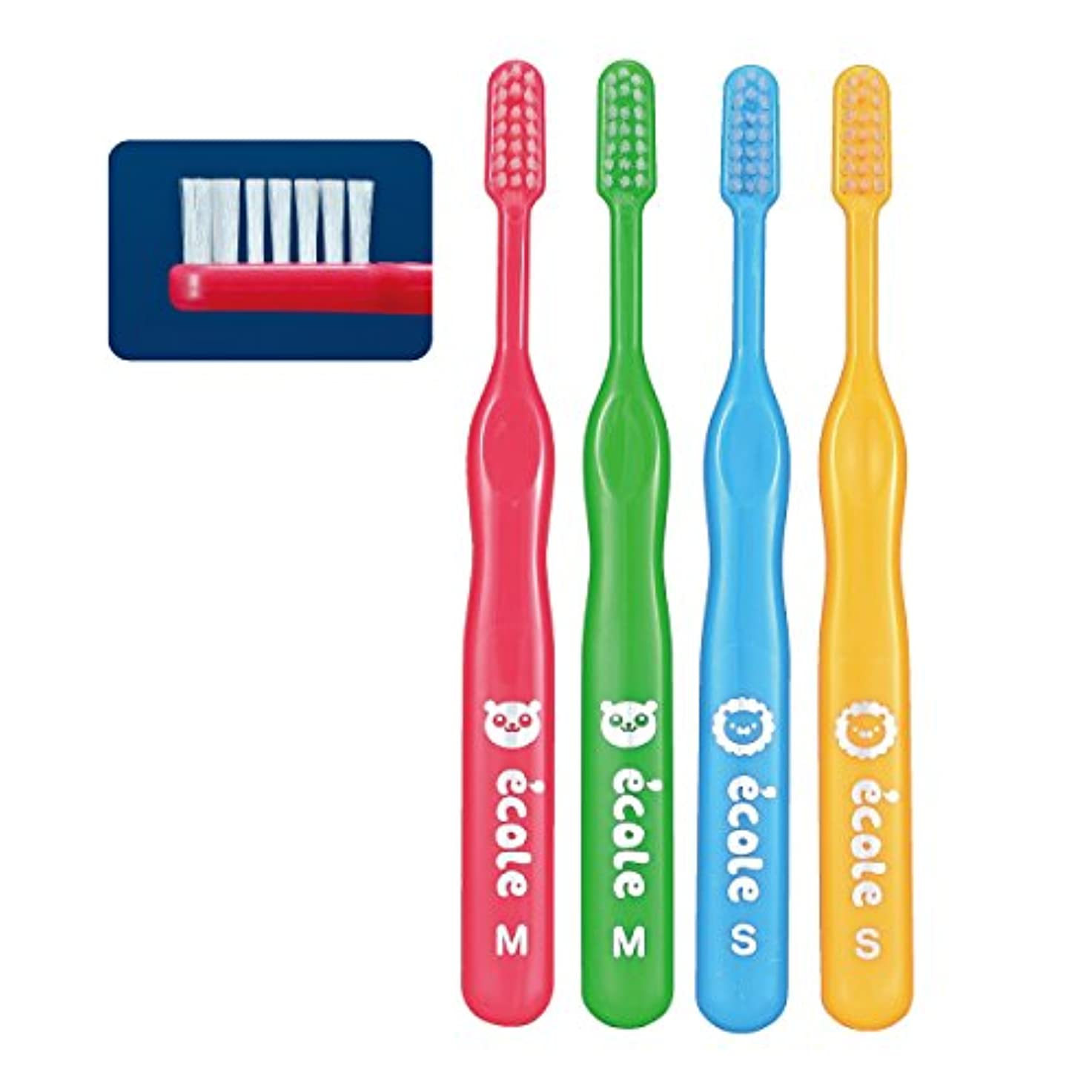 マンモス脈拍反動リセラ エコル 幼児~小学生用歯ブラシ Mふつう 4本入り