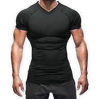 【正規販売店】SASUKE サスケ 加圧シャツ ダイエットシャツ 半袖シャツ 速乾加圧インナー Vネック (黒, M)